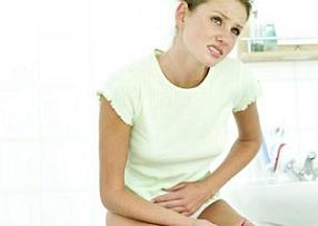 Woman suffering from cystitis