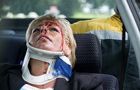 Seriously injured woman after car crash.