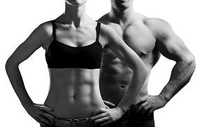 man and woman with six pack abs