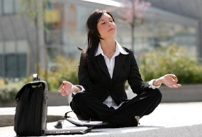 woman meditating during a break