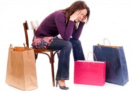 woman with shopping addiction