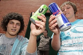 kids drinking energy drinks
