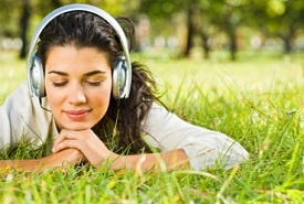 woman listening to guided imagery therapy