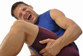 athlete suffering from groing strain