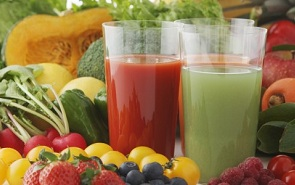 natural juice along fruits and vegetables