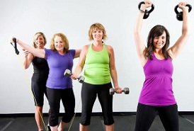 4 exercising  women