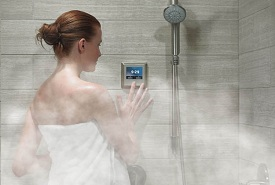 woman performing warm shower